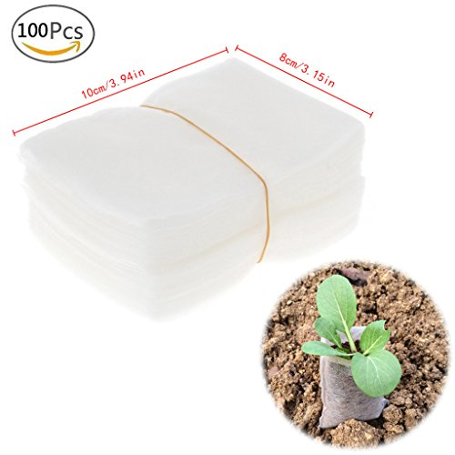 Cuigu 100 Pcs/Set Pépinière Pots Semis Raising Sacs Tissus Jardin Pépinière Sacs Fournitures (10cm x 9cm/3.94\