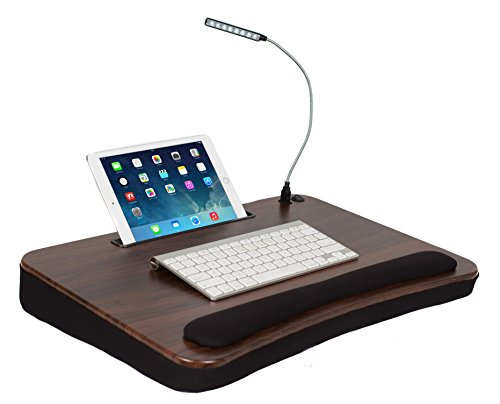 Sofia + Sam XLG Deluxe Lap Desk with Tablet Slot (with USB Light, Wood Top)
