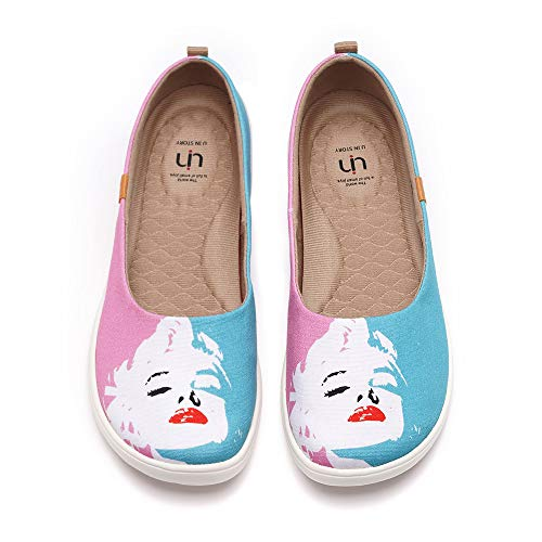 UIN Women's Fancy Ballet Flats Cute Casual Slip On Art Painted Comfort Round Toe Shoes Marilyn Monroe (37)