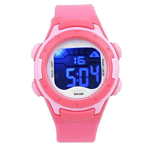 Zerodis Kinder Sportuhr, 3ATM wasserdichte elektronische Armbanduhr PU Armband Armbanduhr für Kinder Kleinkind Jungen Mädchen 3-12 Jahre alt(Rosenrot)