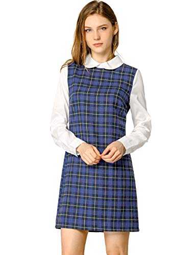 Allegra K Women's Contrast Peter Pan Collar Long Sleeve Shift Plaid Dress