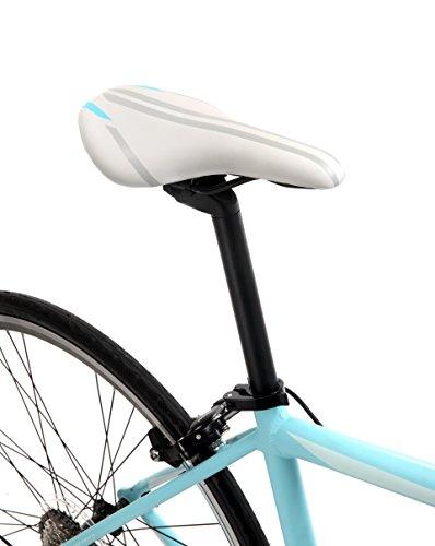 Schwinn Phocus 1600 Drop Bar Womens Road Bicycle, 41cm/Small Aluminum Step-Through Frame, Carbon Fiber Fork, Shimano 16-Speed Drivetrain, 700c Wheels, Light Blue