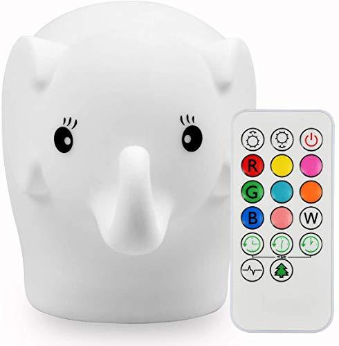 Luz nocturna suave para niños, lámpara de noche con interruptor táctil y mando a distancia, 9 colores cambiantes, lámpara para habitación infantil con batería recargable interna (Elefante)