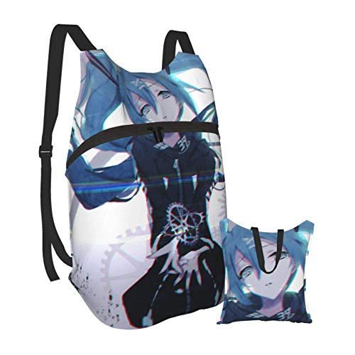 Hatsune Miku Folding Portable Backpack Lightweight Packable Backpacks Travel Hiking Daypack Water Resistant Camping Outdoor Foldable for Men Women Travel Hiking Waterproof Backpack