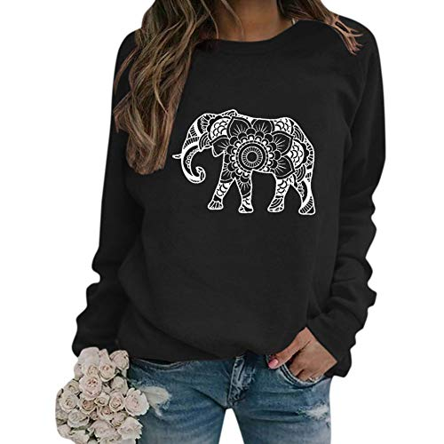 Elephant Sweatshirt Women Novelty Floral Elephant Graphic Pullover Sweater Casual Long Sleeve Tunic Top Black