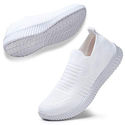 STQ Damen Mesh Slip On Sneakers Walking Outdoor Gym Bequem Leichte Atmungsaktiv Freizeitschuhe(Weiß39)