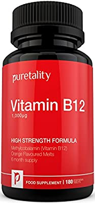 Vitamin B12 Methylcobalamin 1000mcg 180 Tablets (6 Month Supply) - 100% MONEY BACK GUARANTEE - High Strength Methylcobalamin B12 Sublingual Tablets Suitable for Vegetarians by Puretality from Puretality