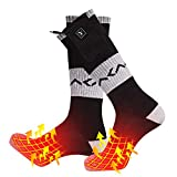 day wolf Heated Socks Rechargeable Powered Battery 7.4V 2200MAH Cold Winter Snow Electric Foot Warmer for Outdoor and Indoor Hunting Fishing Camping Hiking Riding Skiing for Men Women (M, Zip Line)