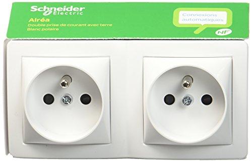 Schneider Electric SC5SHN0262473P Alrea double prise de courant 2 P + T connexion rapide, Blanc