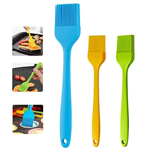 cyrico Silicone Basting Brush Pastry Brush Set of 3 Cooking Brushes for Oil Baking, Spread Butter Sauce Marinades for Grilling Barbecue Kitchen Heat Resistant, Dishwasher Safe
