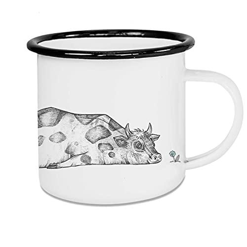 Ligarti Emaille Tasse (leicht & robust)   Camping Becher handveredelt in Deutschland   Trinkbecher für Kinder, Kaffeetasse, Emaillebecher   Bauernhof   (Rita, 500ml)
