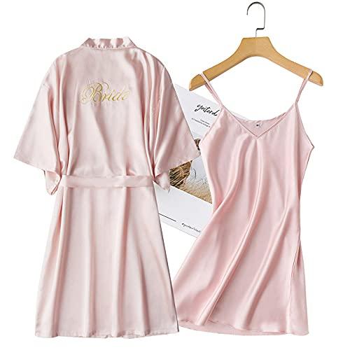2 PCS Conjuntos nocturnos y de Albornoz Brides de Novia Dama de Boda Robe para Mujer Ropa de Dormir de la Ropa Interior con el cinturón camisón Suelto Kimono-Pink - Set 3_SG