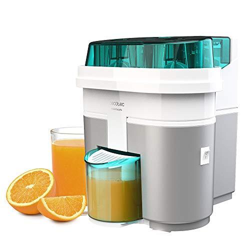Cecotec Exprimidor Naranjas eléctrico EssentialVita Twice White. 90 W, Doble Cabezal y Cortador, Filtro para Pulpa, Vaso 500ml, Piezas aptas para lavavajillas