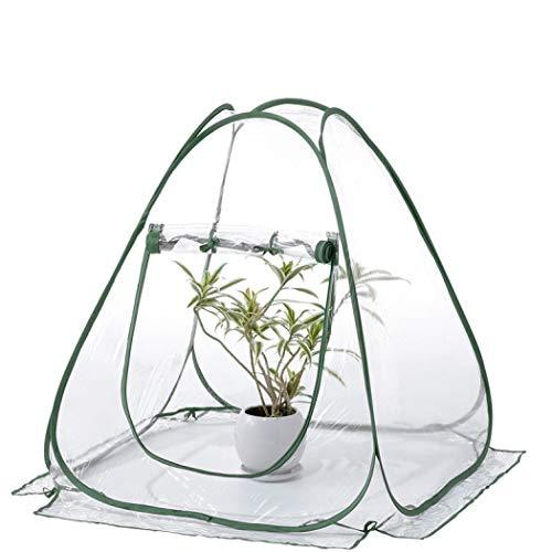 Mini invernadero plegable de PVC para plantas de jardinería portátil, refugio de flores, cubierta para interior y exterior, 27,5 x 27,5 x 31,5 pulgadas talla única Verde militar transparente.
