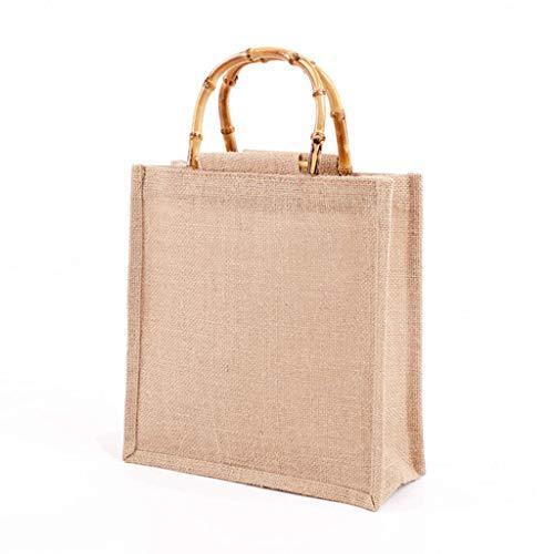 MUGE LEEN Bolso de Compras de Yute de arpillera portátil Bolso de Mano Asas de Bucle de bambú Bolso de Compras Bolso de Compras Marrón Claro