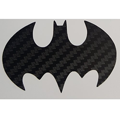 Dark Knight Batman Logo Insignia Sticker Decal in Carbon Fiber Black for Truck, Car, Locker, Notebook, Laptop, Tablet, Glass, Metal or Plastic