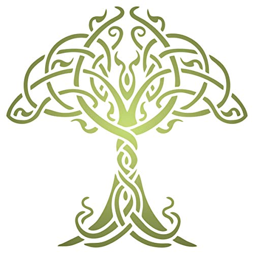 Celtic Tree of Life Stencil, 4.5 x 4.5 inch (M) - Traditional Irish Knotwork Tree Design Stencils Template for Painting