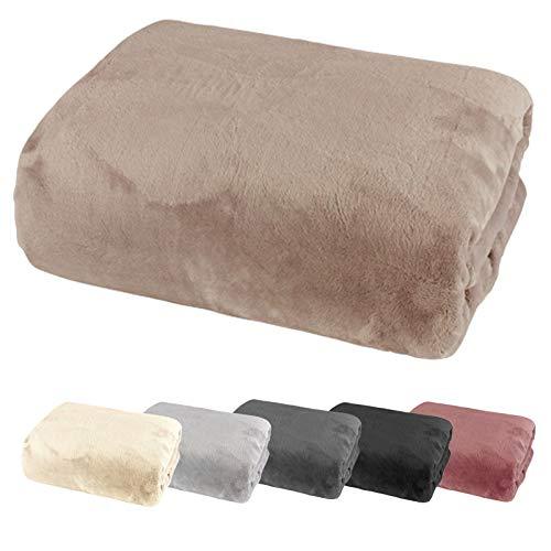 heimtexland ® Spannbetttuch Cashmere Touch Teddy Plüsch Spannbettlaken Super Soft ÖKOTEX Nicky 180x200 Taupe Typ585