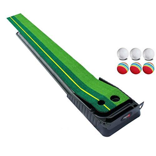 Golf puttmatta träningsmatta golf puttning grön, inomhus/utomhus golf auto retur puttningsmatta, dubbel spår inomhus putttränare – extra lång 9,8 fot matta, 2 hål/2 storlekar, gravitationsboll retur