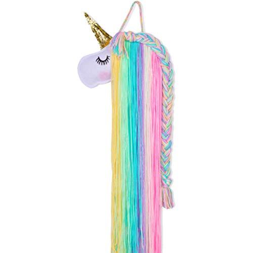 Unicorn Hair Bow Holder Pinzas para el cabello Organizador de diadema Unicornio Colgante de pared Decoración para el hogar para niñas Habitación Accesorios de dormitorio Colgador de pared Decoración