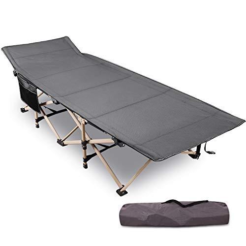 REDCAMP 71x190cm Klappar Camping Bett für Erwachsene, Extra Breit Faltbar Klappbett Feldbett Campingbett für Outdoor Garten Innen, 226 kg Belastbar, Grau