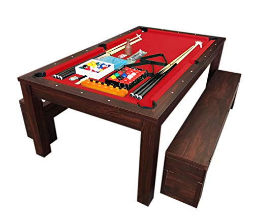 7ft rode biljart wordt een eettafel pooltafel spel Rich Red model met opbergbanken