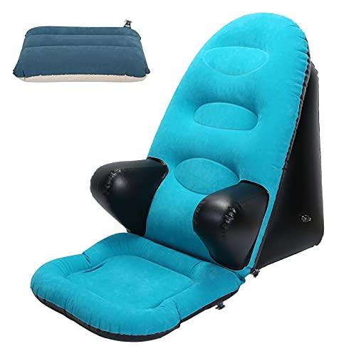 Aufblasbarer Stuhl, tragbare aufblasbare Liege für drinnen und draußen Ellbogenstützstuhl mit kleinem Kissen und elektrischer Luftpumpe