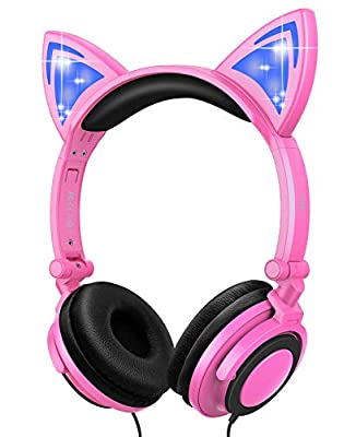 Esonstyle Kids headphones Over Ear with LED Glowing Cat Ears,Safe Wired Kids Headsets 85dB Volume Limited, Food Grade Silicone, 3.5mm Aux Jack, Cat-Inspired Pink Headphones for Girls (pink) from Esonstyle