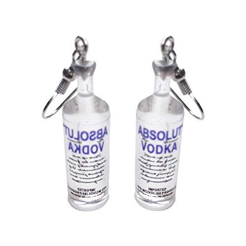 Kacoco Creative Drink Bottle Pendant Women Drop Dangle Hook/Clip Earrings Jewelry Gift Funny Vodka Earrings Ins Girl Fun Drink Bottle Cartoon Japanese Ear Clip Earrings Hook Earrings