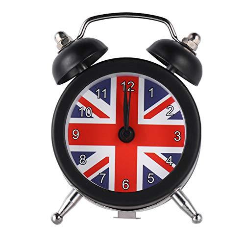 Garneck Doppelglocke Wecker Union Flag Uhr Britische Flagge Uhr Schreibtisch Tischuhr für Schwere Schläfer Schwarz