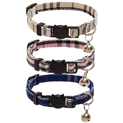 Cholegift Kitty 3 pcs Plaid Collar with Bell-Fit Cats, Classical Plaid, Breakaway Adjustable Collar