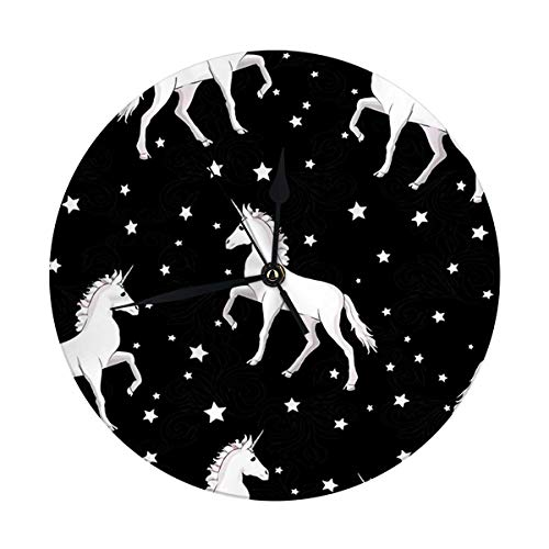 nobrand Reloj de pared sin tictac unicornio de 9,8 pulgadas con unicornios con crin arcoíris y cuerno sobre estrellas moradas planas. Reloj redondo de cocina