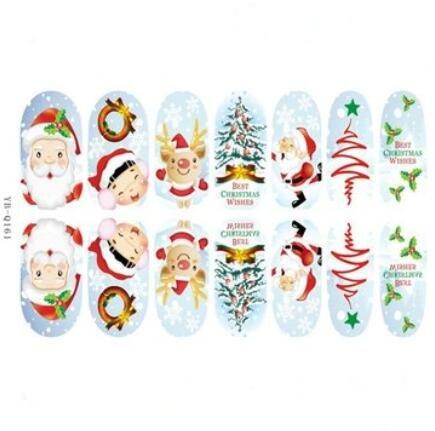 Bluelover 3D Arbre De Noël Santa Claus Lumineux Ongles Autocollants Complets - Yb-Q161