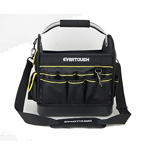 14 Inch One Shoulder Strap Heavy Duty electrician Tool Carrier Wide Mouth Electrician Open Top Tool Tote Bag with Center Tray with Handle Tool Storage Bag