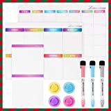 Lemecima 3PCs Magnetic Fridge Calendar Board Set for Refrigerator Large Monthly Weekly Organiser Daily Note pad Fridge Whiteboards with 3 Markers and 4 Magnets, Schedule