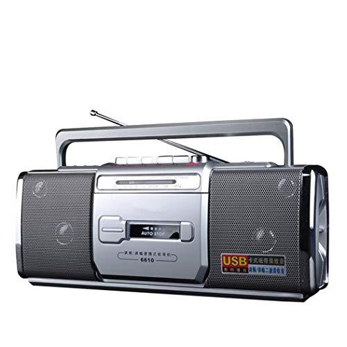 WUBAILI Retro-Kassettenrekorder, Radio-Kassettenrekorder Und -Recorder Mit Analoger AM/FM-Radio-Abstimmung, Eingebautem Mikrofon/Akku,Silber
