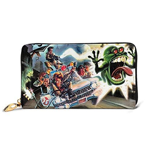 Ghostbusters Cartera de cuero multifuncional de alta capacidad RFID patrón de impresión cremallera carteras largo titular de la tarjeta de crédito para hombres y mujeres