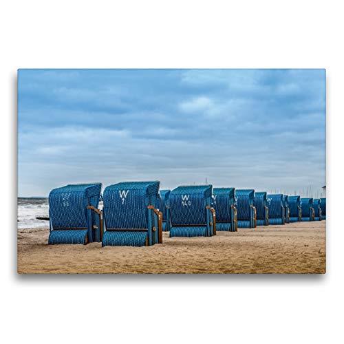 Premium Textil-Leinwand 75 x 50 cm Quer-Format Strandkörbe in Kühlungsborn/Ostsee | Wandbild, HD-Bild auf Keilrahmen, Fertigbild auf hochwertigem Vlies, Leinwanddruck von Dieter Gödecke