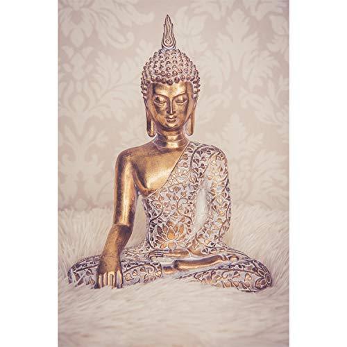 Buddha Statue Gold 30cm Dekofigur sitzend mit weißem Muster Buddha Deko Figur klein