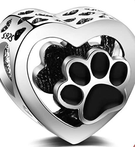 Charm abalorios colgantes de plata de ley 925 para mujer con forma de corazon y huella de perro gato ideal para regalo san valentin aniversario comuniones dia de la madre cumpleaños navidad