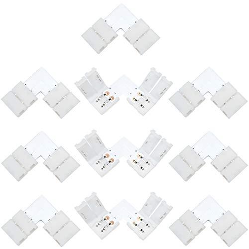 Liwinting 10 Stücke 2 Polig 8mm Breite LED Streifen L Form Verbinder, LED Band Licht Ecke Verbinder für Rechtwinklig Ecke 90 Winkel Drehanschluss von 8mm Breite SMD 3528 2835 Einfarbige LED-Streifen