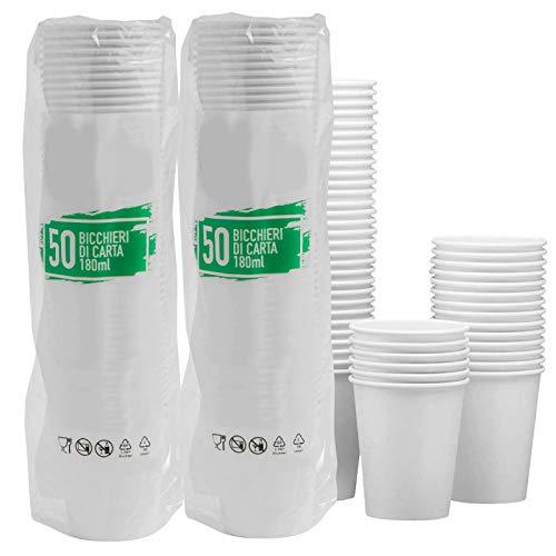 100 Bicchieri in Carta Biodegradabile Compostabile 180ml Asporto Bevande Acqua