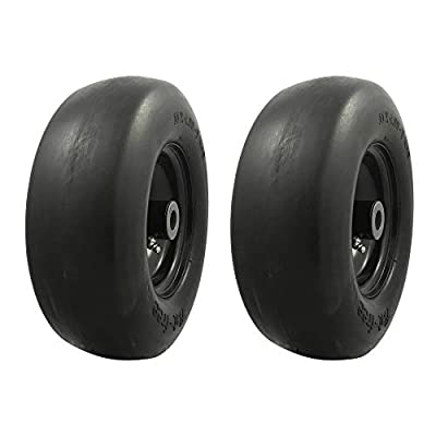 "MARASTAR 00232-2pk Universal Fit Flat Free 11x4.00-5 Lawnmower Tire Assembly, 3.4"" Centered Hub, 3/4"" Bushing"