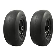 """Tire: 2 pack 11x4. 00-5 flat free Smooth tread - check your existing tire Sidewall for tire and bushing size to ensure proper replacement fit Wheel: solid Black steel, 3. 4"""" Centered hub, 3/4"""" Sintered iron bushings Universal adapter kit includes: 2 ..."""