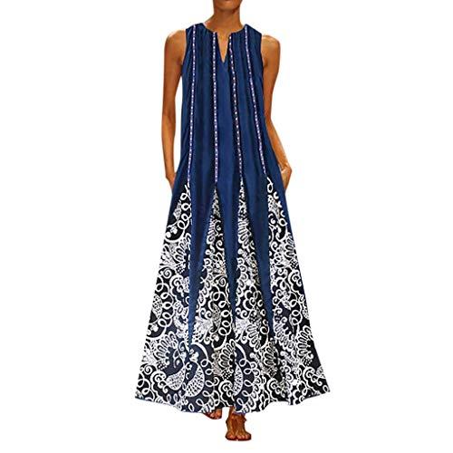 TUSANG Women Skirts Plus Size Print Daily Casual Sleeveless Vintage V Neck Maxi Dress Slim Fit Comfy Dresss
