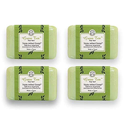 Bisous de Provence French Soap Green Tea   The Vert French Milled Soap enriched with Shea Butter   100% Pure Vegetable Based   Made in France   Paraben Free   7 oz, 200g Soaps (4 Bars)