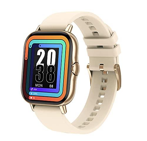 Smart Watch Bluetooth Llamada Presión Arterial Sueño Monitor de Ritmo Cardíaco Pulsera Deportiva-Dorada