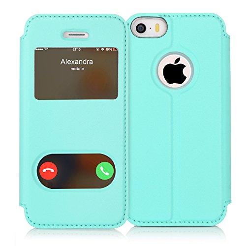 FYY iPhone se Funda, iPhone 5S, iPhone 5Móvil, Funda de Piel sintética ecológica de Calidad (Funda Carcasa Case Cover Funda) para Apple iPhone se/5S/5 A-Mintgrün iPhone SE/5S/5