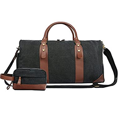Oflamn 21  Large Duffle Bag Canvas Leather Weekender Overnight Travel Carry On Bag - Free Toiletries Bag (Black)