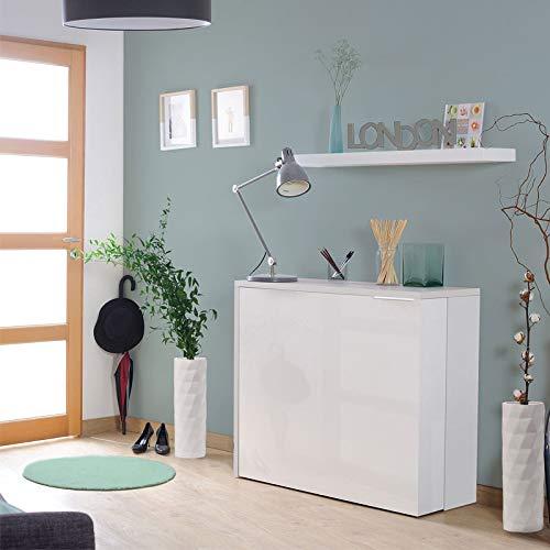 Tousmesmeubles Console Bureau Extensible Blanc - FACIL - L 104 x l 40/141 x H 89 - Neuf